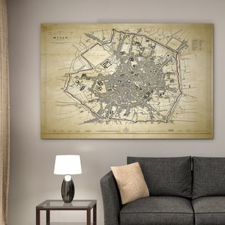 Vintage Map Milan II - Premium Gallery Wrapped Canvas