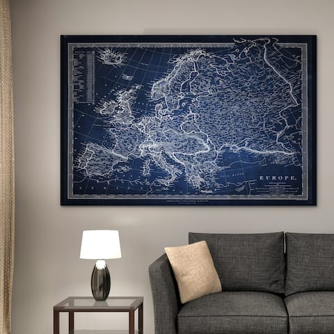 Vintage Map Europe Blue - Premium Gallery Wrapped Canvas