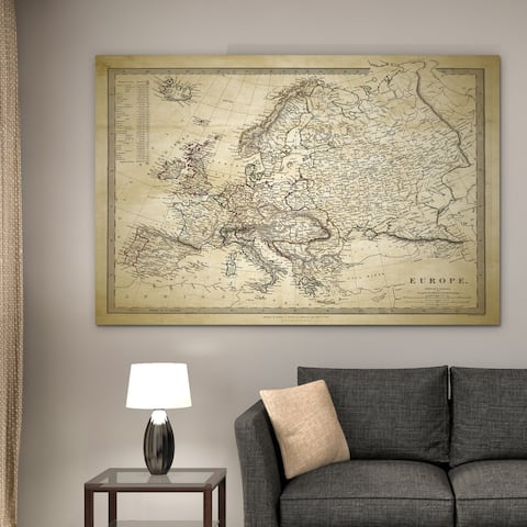 Vintage Map Europe II - Premium Gallery Wrapped Canvas