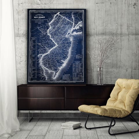 Vintage Map New Jersey Blue - Premium Gallery Wrapped Canvas