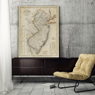 Vintage Map New Jersey II - Premium Gallery Wrapped Canvas