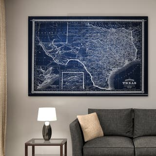 Vintage Map Texas Blue - Premium Gallery Wrapped Canvas