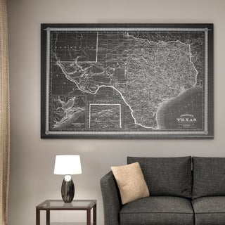 Vintage Map Texas Grey - Premium Gallery Wrapped Canvas