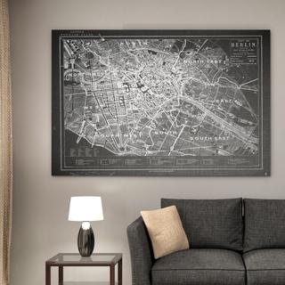 Vintage Map Berlin Grey - Premium Gallery Wrapped Canvas