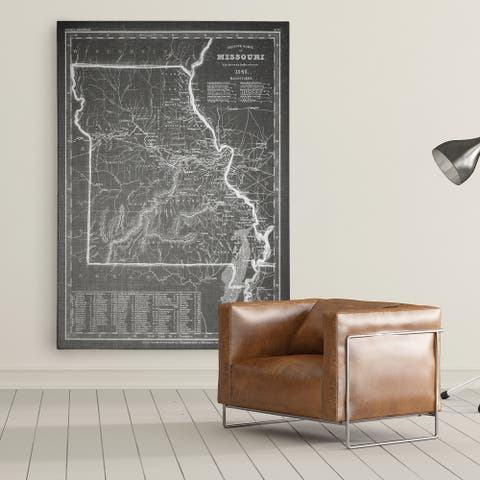 Antique Map Missouri Grey - Premium Gallery Wrapped Canvas