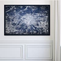 Paris Sketch Map Blue - Premium Gallery Wrapped Canvas