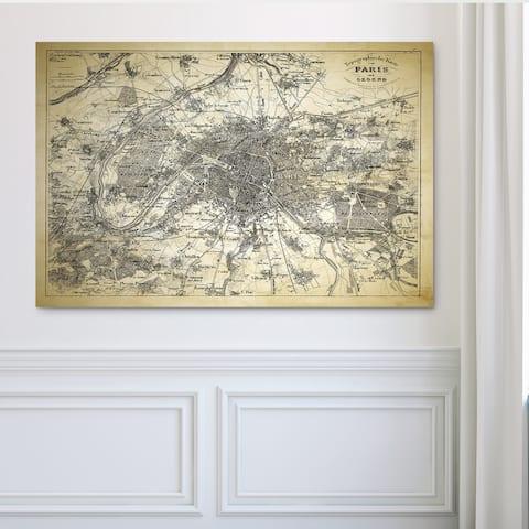 Paris Sketch Map II - Premium Gallery Wrapped Canvas