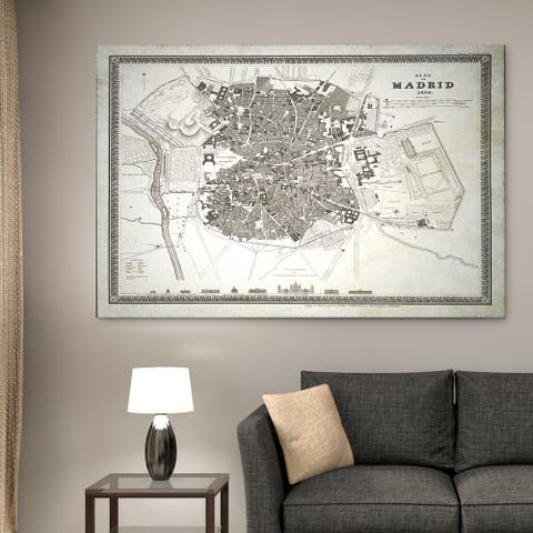 Madrid Sketch Map I - Premium Gallery Wrapped Canvas