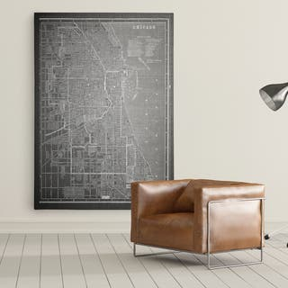 Chicago Sketch Map Grey - Premium Gallery Wrapped Canvas