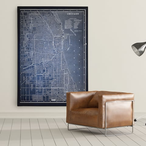 Chicago Sketch Map Blue - Premium Gallery Wrapped Canvas