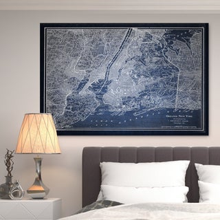 NYC Sketch Map Blue - Premium Gallery Wrapped Canvas