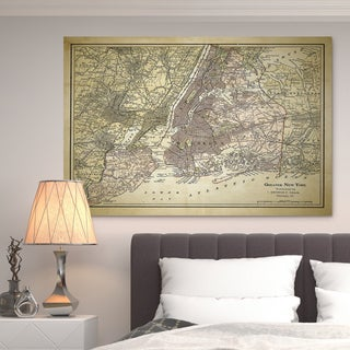 NYC Sketch Map ZII - Premium Gallery Wrapped Canvas - Brown/Off White (4 options available)