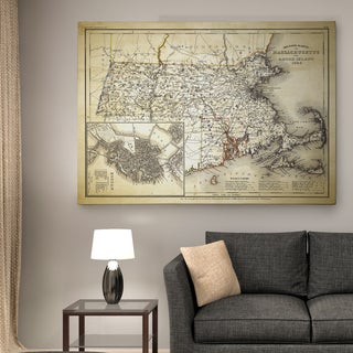 Massachusetts Sketch Map II - Premium Gallery Wrapped Canvas
