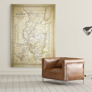 Illinois Sketch Map II - Premium Gallery Wrapped Canvas