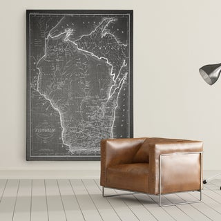 Wisconsin Sketch Map Grey - Premium Gallery Wrapped Canvas (4 options available)