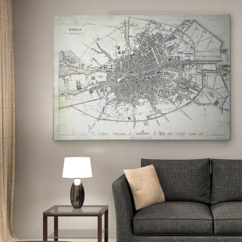 Dublin Sketch Map I - Premium Gallery Wrapped Canvas