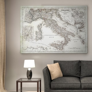 Italy Sketch Map I - Premium Gallery Wrapped Canvas