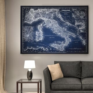 Italy Sketch Map Blue - Premium Gallery Wrapped Canvas