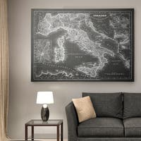 Italy Sketch Map Grey - Premium Gallery Wrapped Canvas