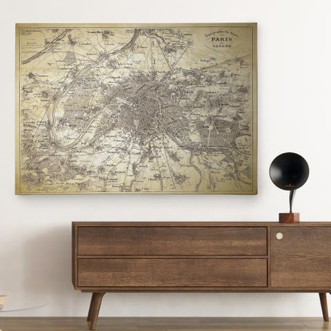Antique Paris Stencil Map - Premium Gallery Wrapped Canvas