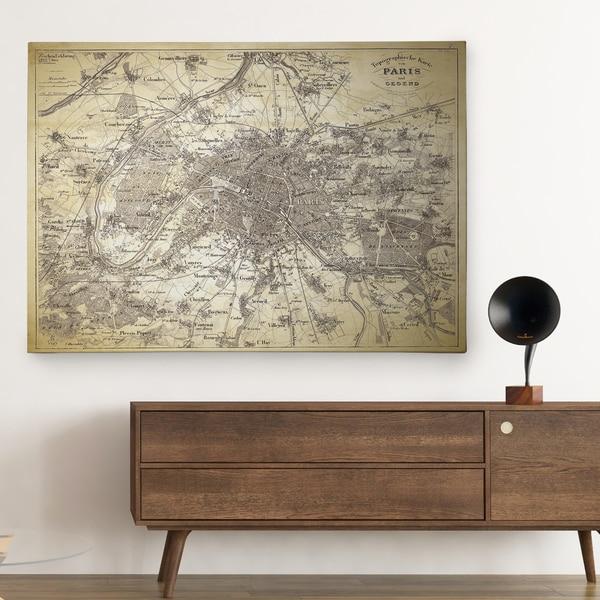 Antique Paris Stencil Map - Premium Gallery Wrapped Canvas