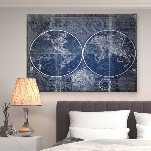 Vintage World Map Blue II - Premium Gallery Wrapped Canvas