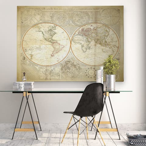 Vintage World Map II - Premium Gallery Wrapped Canvas