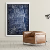 Chicago Map Blue - Premium Gallery Wrapped Canvas