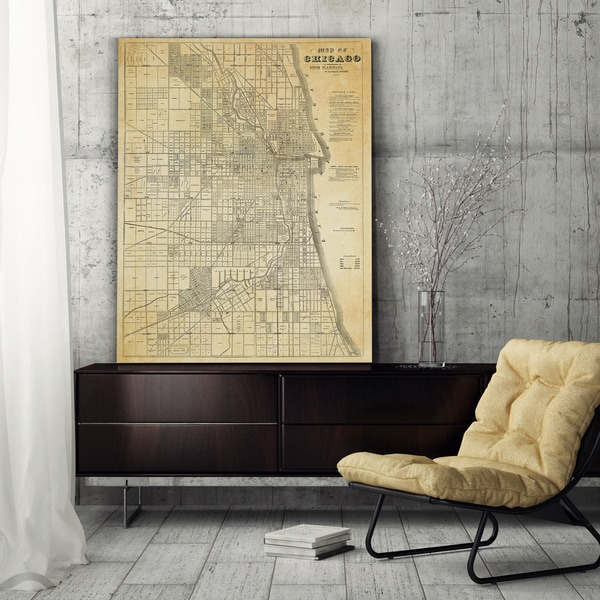 Chicago Map Canvas.Shop Chicago Map Premium Gallery Wrapped Canvas On Sale Free