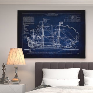 Vintage Sailing Ship Blue Sketch - Premium Gallery Wrapped Canvas