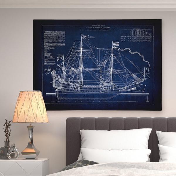 Vintage Sailing Ship Blue Sketch - Premium Gallery Wrapped Canvas