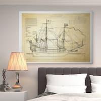 Vintage Sailing Ship Sketch II - Premium Gallery Wrapped Canvas