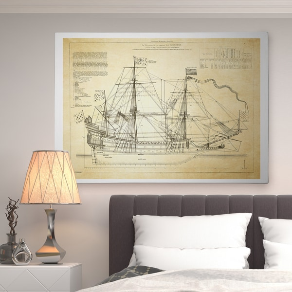Vintage Sailing Ship Sketch II - Premium Gallery Wrapped Canvas