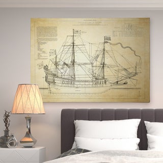 Vintage Sailing Ship Sketch I - Premium Gallery Wrapped Canvas