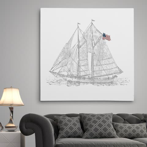 Sail Boat Sketch - Premium Gallery Wrapped Canvas