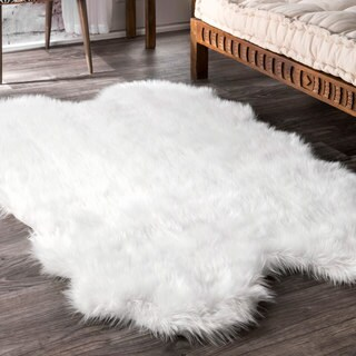 nuLOOM Faux Flokati Sheepskin Soft and Plush Cloud White Shag Rug - 3'6 x 6'
