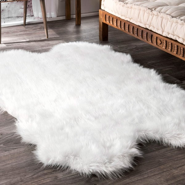 Nuloom Faux Flokati Sheepskin Soft And Plush Cloud White Rug 3 X27