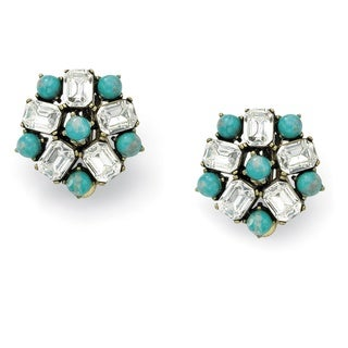 Antique Copperplated Cushion-cut Crystal and Turquoise Vintage-style Clip-on Earrings