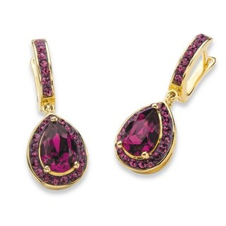 Pear-Cut Amethyst Purple Crystal Halo Drop Earrings MADE WITH SWAROVSKI ELEMENTS Gold-Plated 1.2 Color Fun