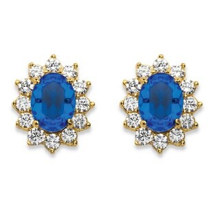 1.14 TCW Sapphire Blue Crystal and Cubic Zirconia Halo Stud Earrings MADE WITH SWAROVSKI ELEMENTS 14 Color Fun