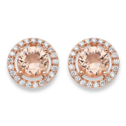 .45 TCW Simulated Pink Morganite and Cubic Zirconia Earrings in Rose Gold over .925 Sterling Silver Color Fun