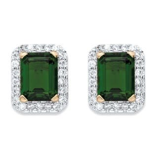 .36 TCW Emerald-Cut Simulated Green Emerald and Cubic Zirconia Stud Earrings 18k Yellow Gold-Plated Color Fun|https://ak1.ostkcdn.com/images/products/14491137/P21049583.jpg?impolicy=medium