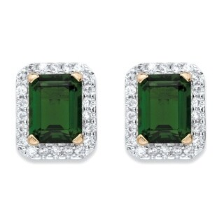 .36 TCW Emerald-Cut Simulated Green Emerald and Cubic Zirconia Stud Earrings 18k Yellow Gold-Plated Color Fun