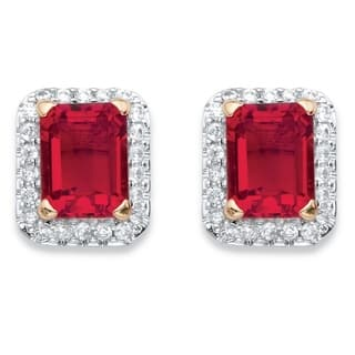 18k Yellow Goldplated 0.36tcw Emerald-cut Simulated Red Ruby and Cubic Zirconia Stud Earrings|https://ak1.ostkcdn.com/images/products/14491138/P21049584.jpg?impolicy=medium