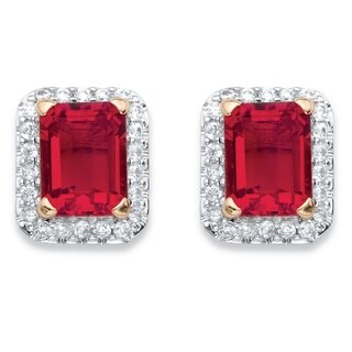 Yellow Goldplated 0.36tcw Emerald-cut Simulated Red Ruby and Cubic Zirconia Stud Earrings