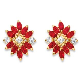 18k Yellow Goldplated Marquise-cut Red and White Crystal Stud Earrings