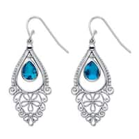 Sterling Silver Pear-cut Simulated Blue Sapphire Floral Scroll Drop 1.75-inch Earrings