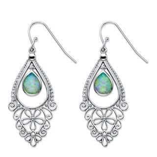 "Pear-Cut Aurora Borealis Simulated Opal Floral Scroll Drop Earrings in Sterling Silver 1.75"" Color Fun"