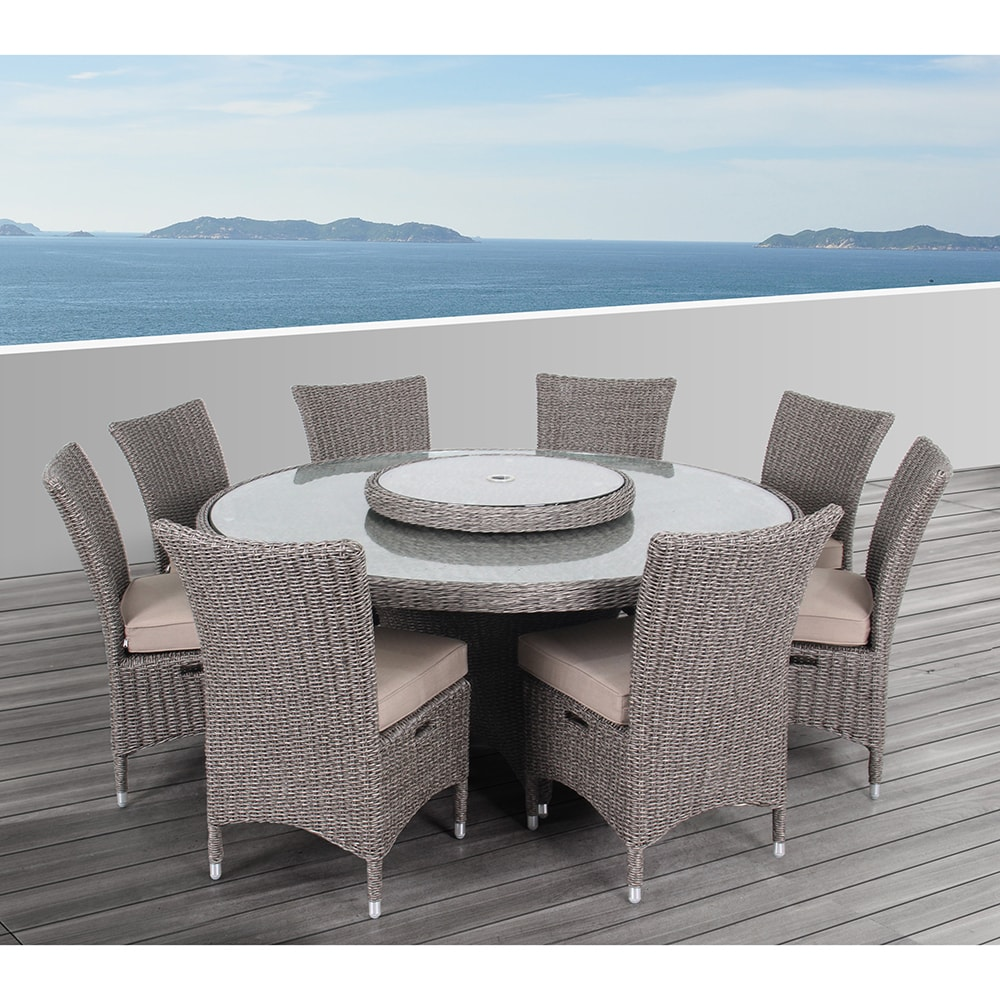 OVE Decors Habra II Outdoor 9-Piece Dining Set (Brown), S...