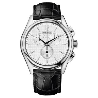 Balmain Balman Black Leather and Silvertone Stainless Steel Men's Watch